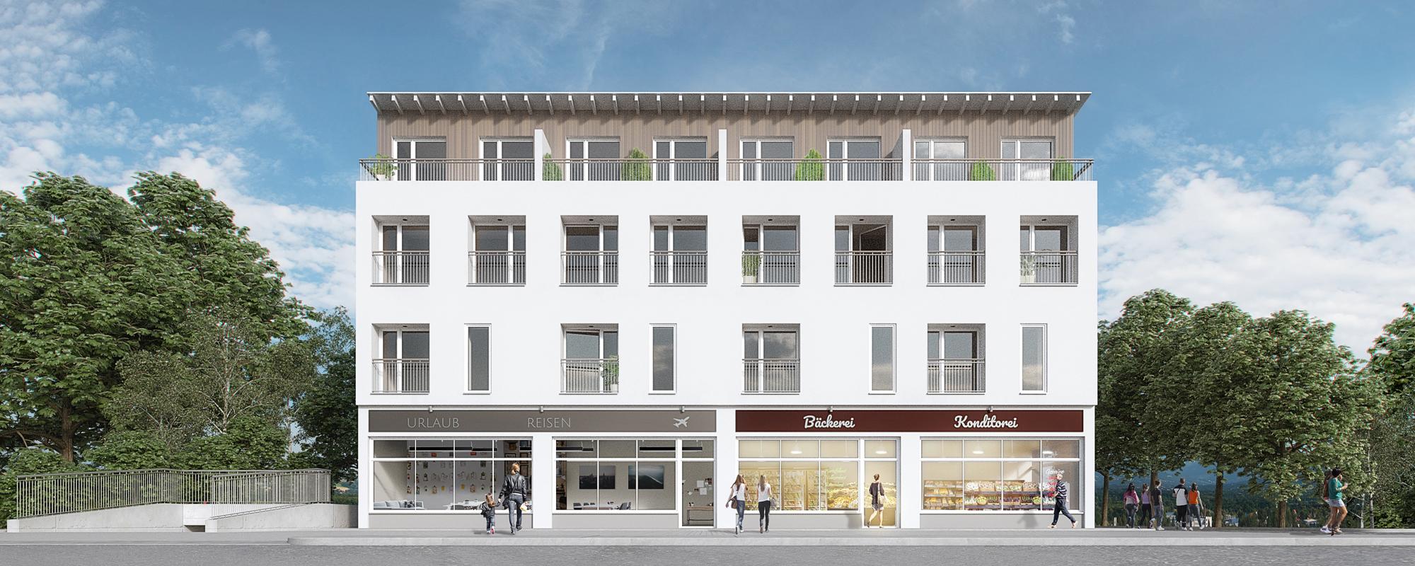 Architektur Visualisierung Wohn- und Geschaeftshaus